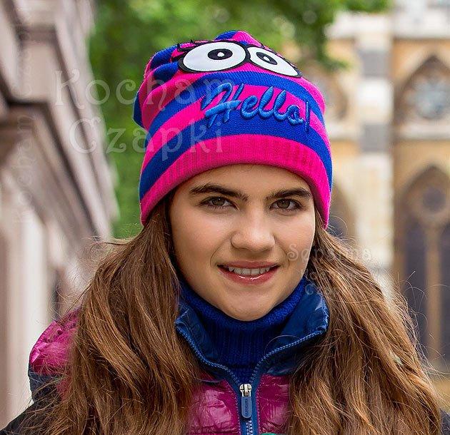 czapka z oczami na zimę kolorowa