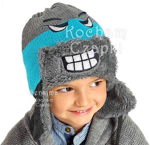 czapka z gryz z oczmi oczy zeby na zimę futro