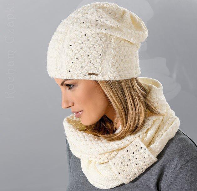 120a83eaca Elegancki zimowy komplet damski ARUA czapka + komin 55-57 cm Loman ...