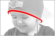 jak zmierzyć obwód głowy, jak dopasować czapkę – miejsce pomiaru obwodu głowy