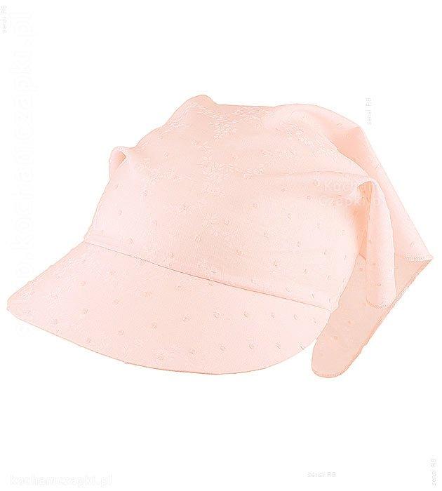 różowa przeciwsłoneczna chustka wiązana, dziewczynka, na lato