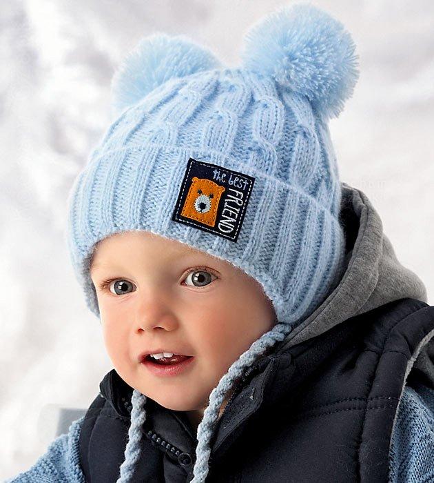 b6d277827c6f72 Zimowa czapka chłopięca z dwoma pomponami Best Friend rozm. 46-49 cm ...