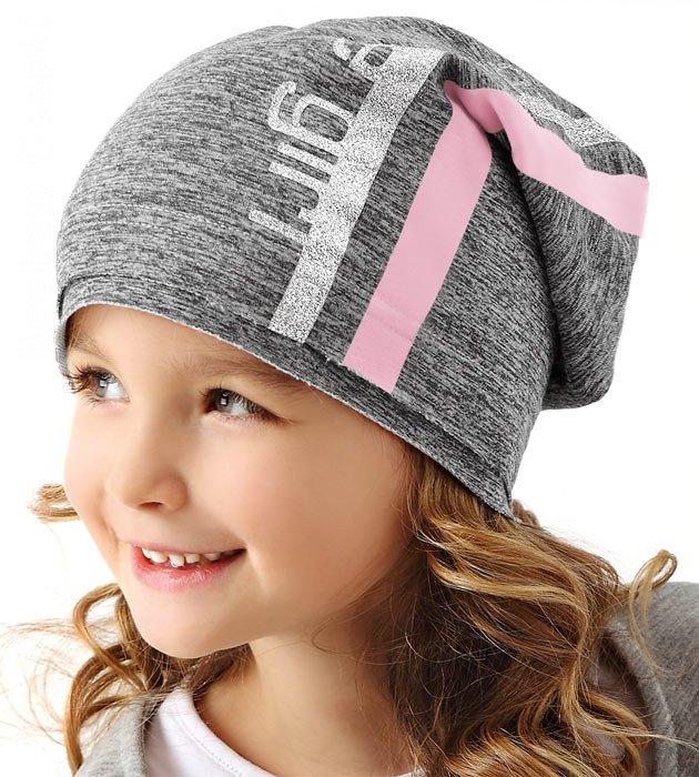 czapka wiosenna, dziewczynka, szara