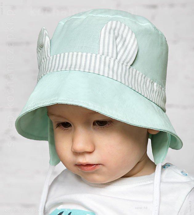 kapelusz na lato, dla dziewczynki, jasny miętowy