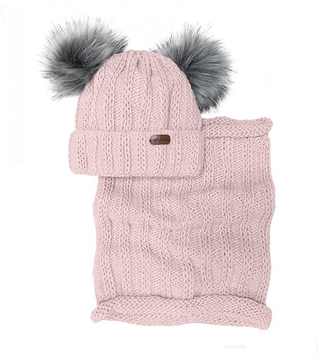 d4f26f9c4d1031 Komplet damski, czapka zimowa z dwoma pomponami i komin, Dorotea rozm.  54-57 cm