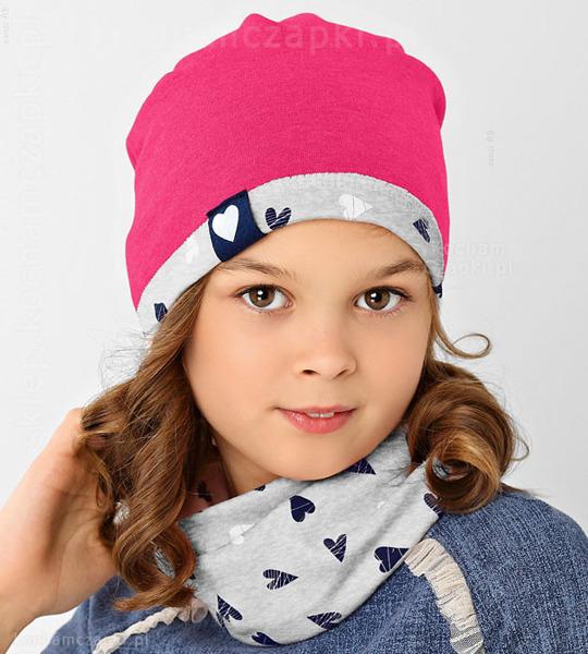 różowo-szary komplet na jesień czapka i komin dla dziewczynki