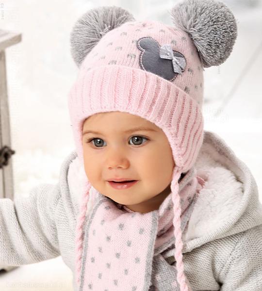 zimowa czapka komplet dla dziewczynki
