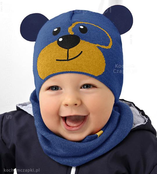 zimowa czapka z uszkami dla chłopczyka