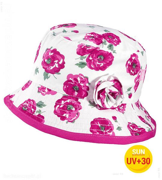 kapelusz w kwiaty dla dziewczynki na lato, przeciwsłoneczny, z rondem, z gumką, dziewczynka w kapeluszu, zawiera filtr UV +30, przeważający kolor ciemny róż, ozdobiony doszytym kwaitem